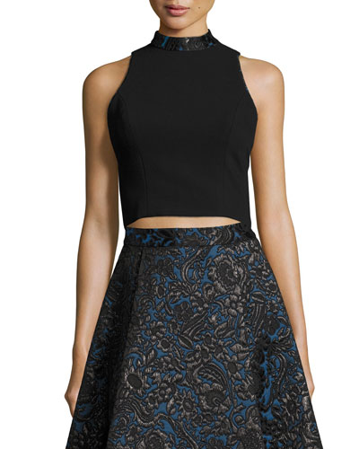 Sleeveless Cropped Crepe Top, Black/Blue