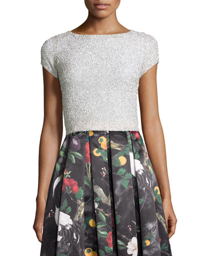 Short-Sleeve Embellished Crop Top, Off White