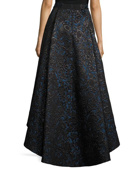 Floral Jacquard High-Low Skirt, Black/Blue