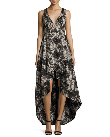 Sleeveless Lace High-Low Cocktail Dress, Black/Sesame