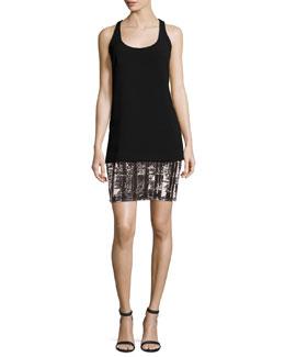 Sleeveless Crepe & Jersey Tank Dress, Black