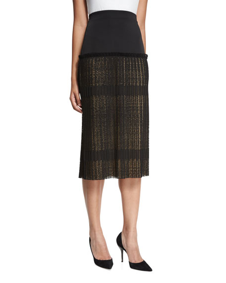 Alysa High-Rise Paneled Plisse Lace Midi Skirt, Black