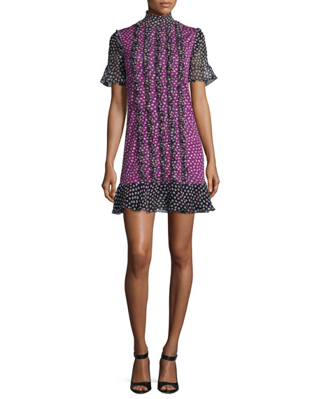 Sebina Printed Knit Dress w/Chiffon Ruffles, Piouette Dot