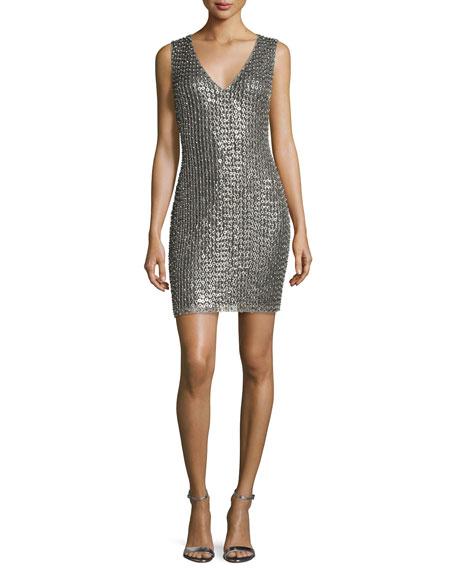 Simona Embellished Sheath Dress, Silver