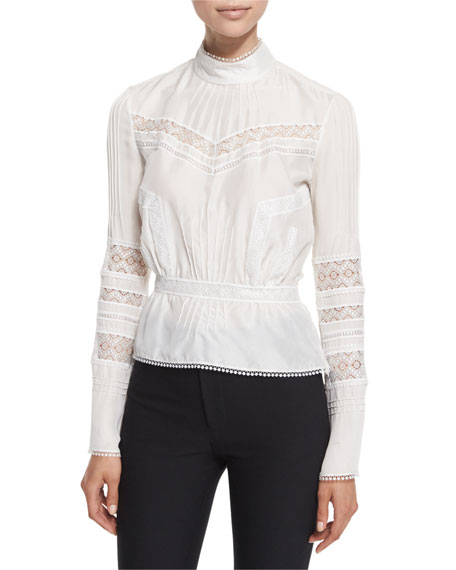Derek Lam 10 Crosby Pintucked Silk Lace-Trim Blouse,