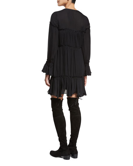 Ashburn Tiered Silk Peasant Dress, Black