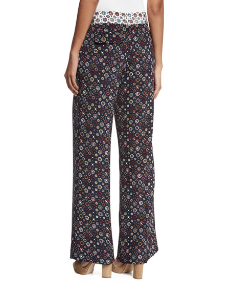 Floral Tile Wide-Leg Trousers, Midnight/Multicolor