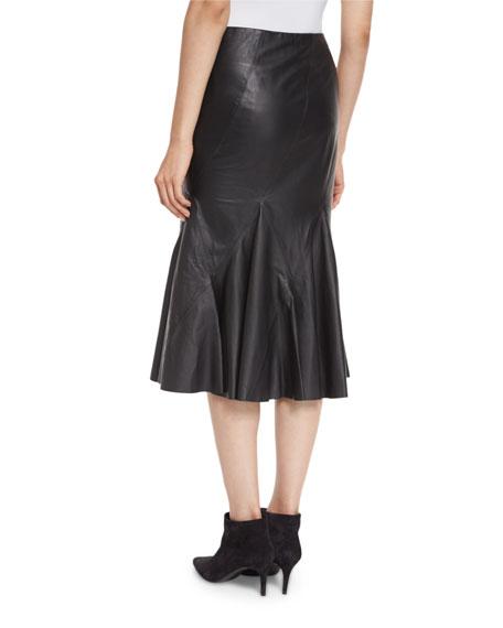 Flared Leather Godet Midi Skirt, Black