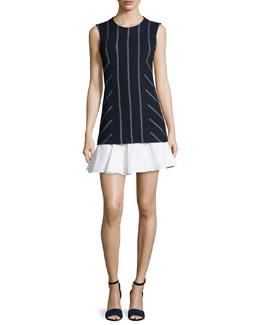 Sleeveless Striped Flounce Dress, Midnight