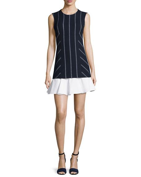 Derek Lam 10 Crosby Sleeveless Striped Flounce Dress,