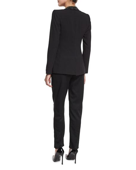 Macey Embellished Strong-Shoulder Blazer, Black