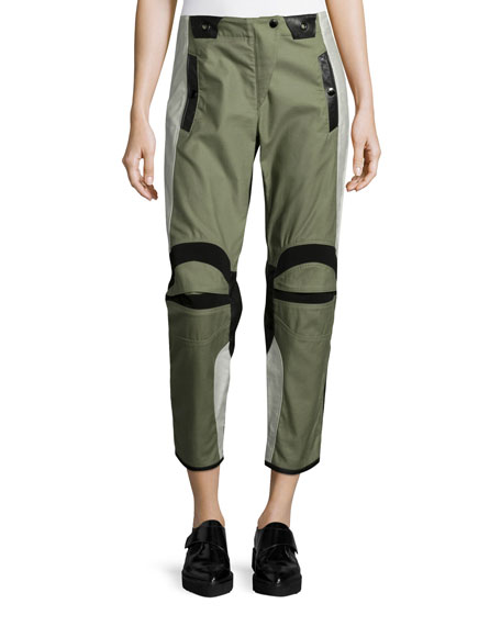 Banx Paneled Cropped Pants, Army Green