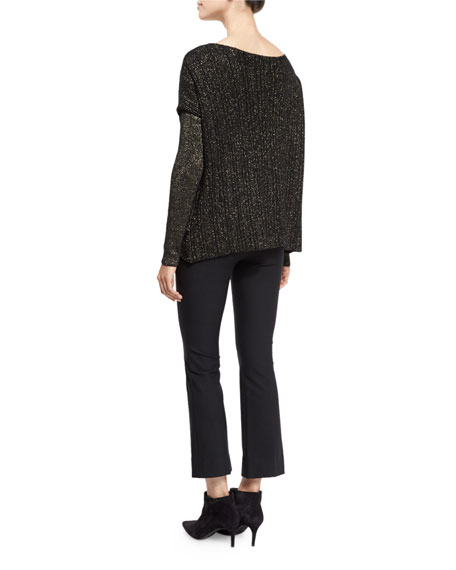 Cross-Front Metallic Wool-Blend Sweater, Black/Gold