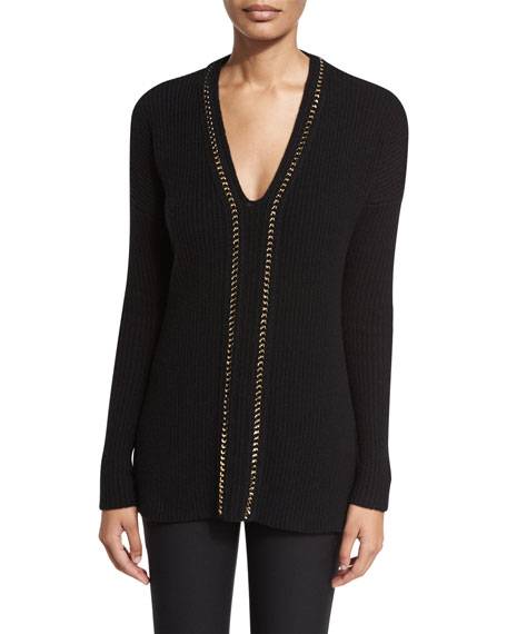 Ribbed V-Neck Pullover Sweater, Black/Gold