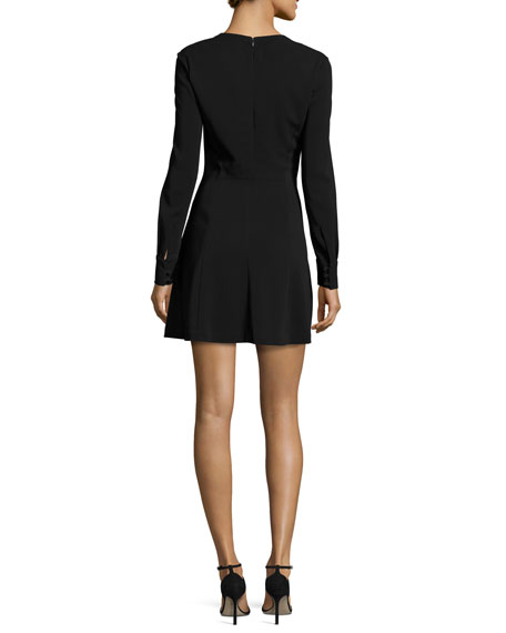 Wares Long-Sleeve Ponte Lace-Trim Dress, Black