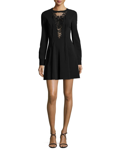 Wares Long-Sleeve Ponte Lace-Trim Dress, Black