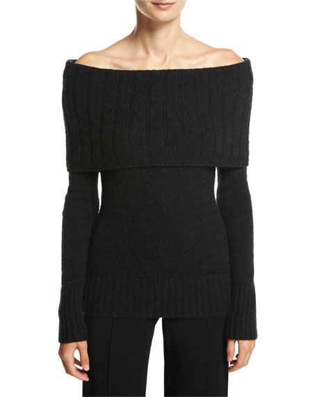 Monica Off-the-Shoulder Wool-Blend Sweater, Charcoal