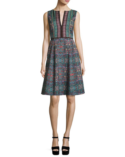 Sleeveless Kaleidoscope A-Line Dress, Dark Green