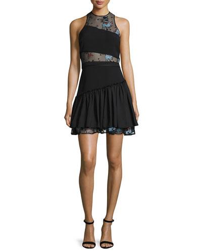 Aquarius Embroidered-Mesh Mini Dress, Slate/Multi/Black