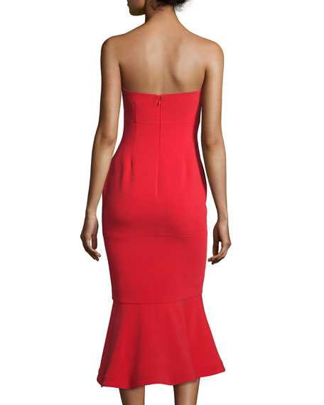 Luna Strapless Flounce-Hem Dress, Venetian Red