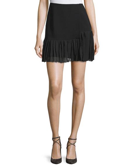 Aurora Pleated-Hem Mini Skirt, Black