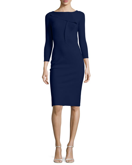 Paoletta Draped Cocktail Dress, Navy