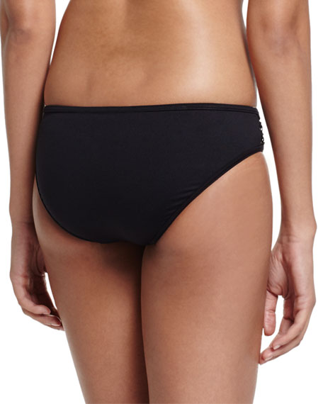 Active Mesh-Inset Swim Bikini Bottom, Black