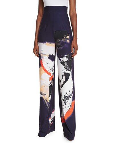 Millie High-Rise Abstract Pants, Navy