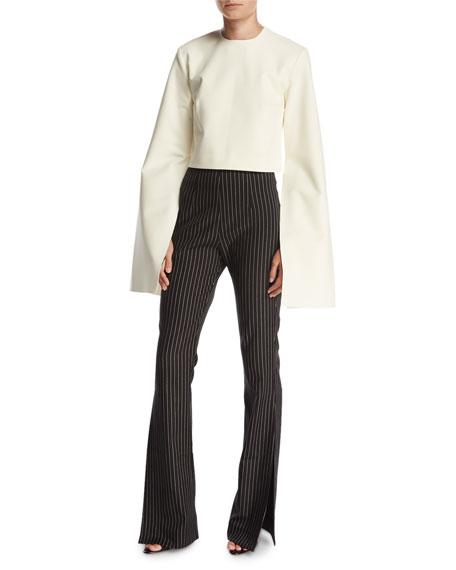 Grace Pinstripe Flare Trousers, Black/White