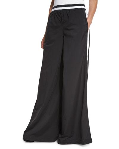 Kimono Tricot Track Pants, Black/White