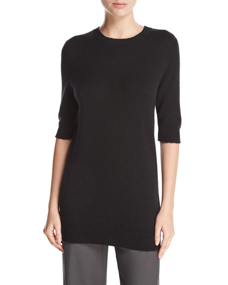 Long Cashmere Half-Sleeve Sweater
