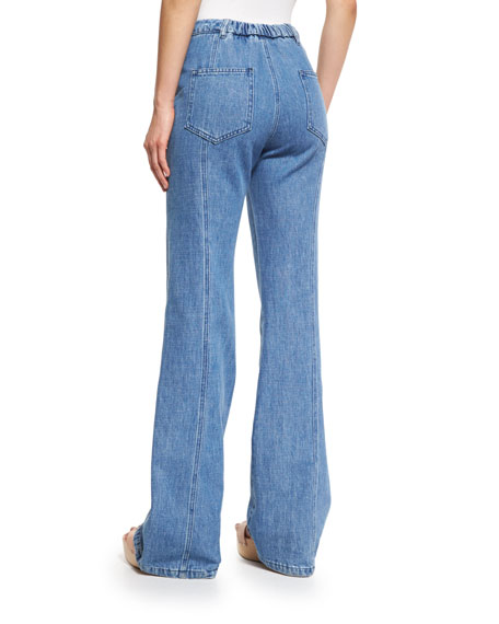 Stretch Denim High-Rise Flare Jeans, Washed Indigo