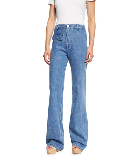 Stretch Denim High-Rise Flare Jeans, Washed Indigo