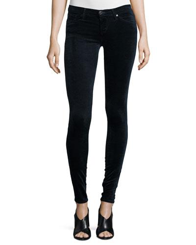 The Legging Velvet Skinny Jeans, Blue Night