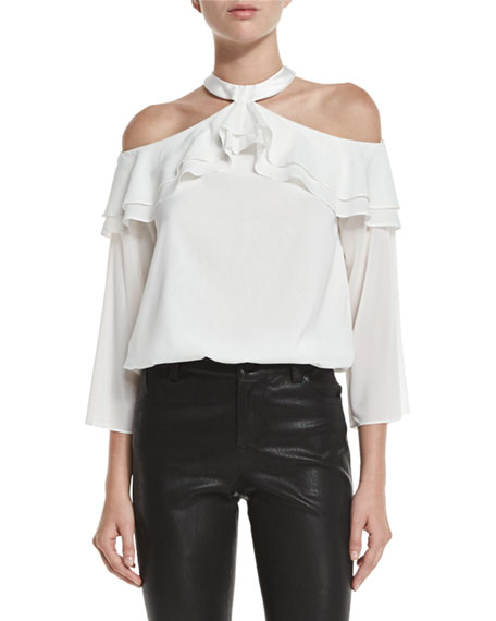Alice + Olivia Layla Cold-Shoulder Ruffle Blouson Top,