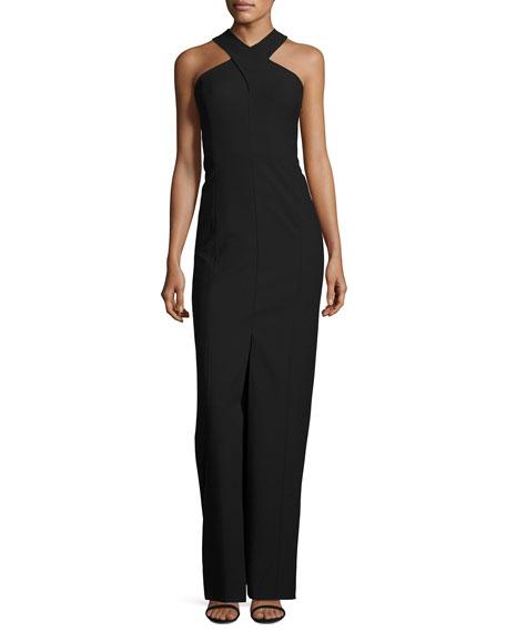Mila Sleeve Stretch Crepe Racerback Gown, Black/White