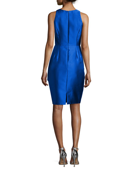 Sleeveless Ruffle-Trim Satin Cocktail Dress, Royal