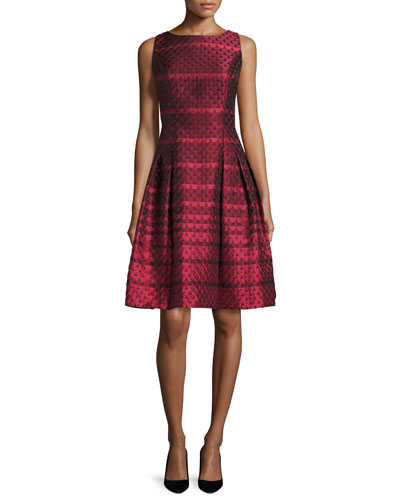 Sleeveless Scalloped Jacquard Cocktail Dress, Red