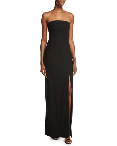 Carly Paneled Strapless Ponte Gown, Black