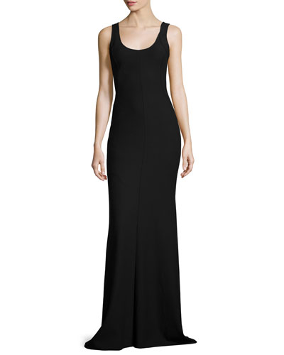 Ava Sleeveless Ponte Gown, Black