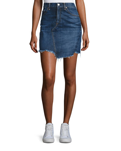 Dive Frayed-Hem Denim Skirt, Eddy
