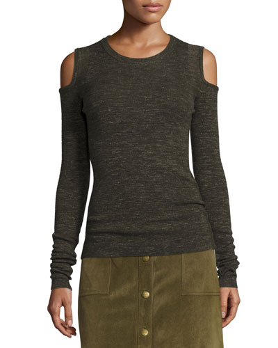 The Melange Cold-Shoulder Sweater, Moss Green