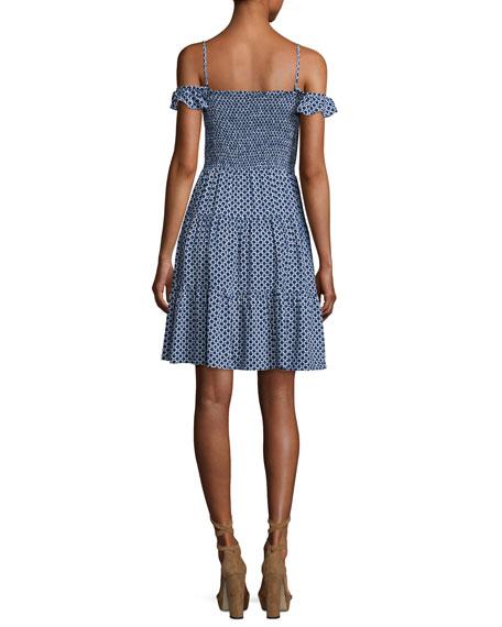 Dot-Print Smocked Dress, Cabarita