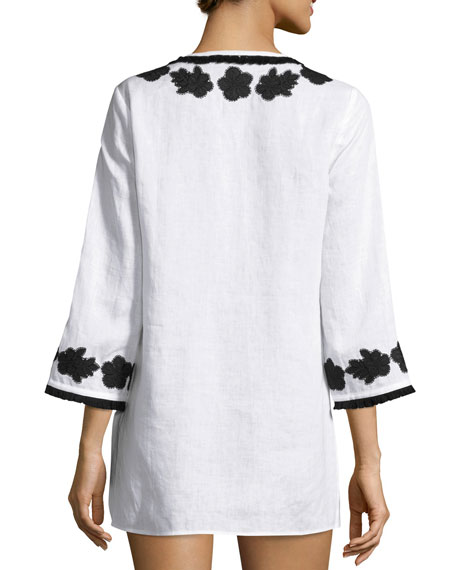 Applique-Trim Tunic, New Ivory