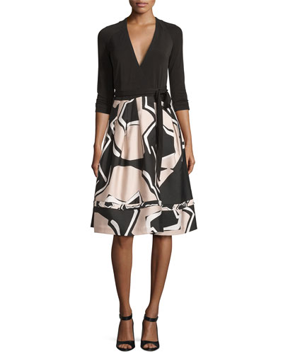 New Jewel Wrap Dress w/Mikado Skirt, Black/Pommeau Grande