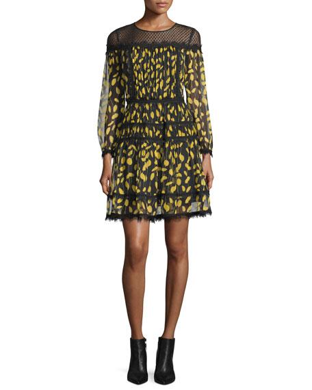 Jamie Lace-Yoke Printed Chiffon Dress