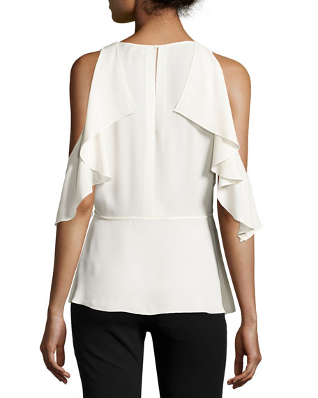 Desiraya B Sleeveless Classic Georgette Top, Ivory