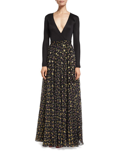 Aviva Metallic Floral-Print Chiffon Maxi Dress