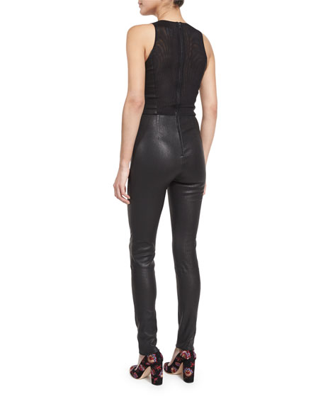 Millicent Mesh-Combo Leather Catsuit, Black