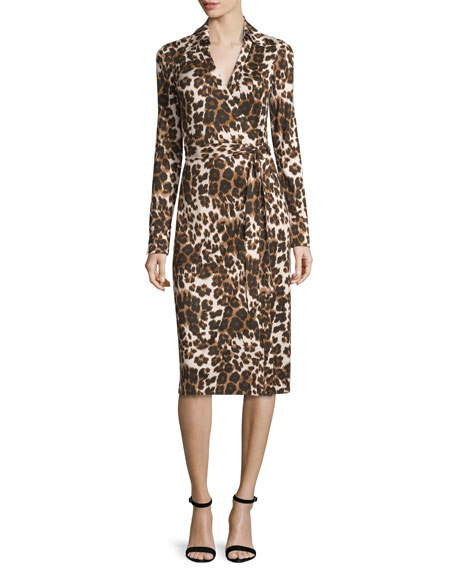 Cybil Cheetah-Print Silk Jersey Wrap Dress, Snow Cheetah